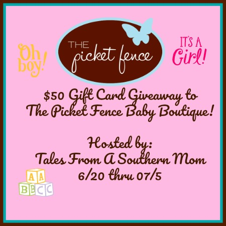 Enter The Picket Fence Baby Boutique Gift Card Giveaway. Ends 7/4