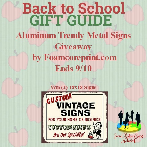 Aluminum Trendy Sign Giveaway ends 9/10